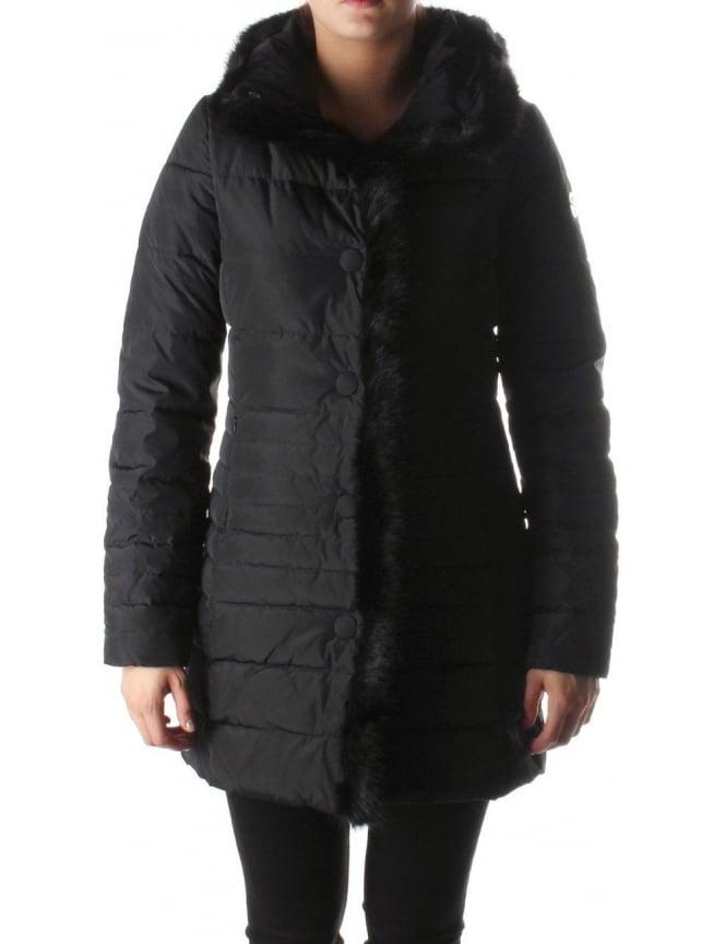 Armani Jeans Fur Trim Hood Quilted Women s Jacket Black 78964a2c3