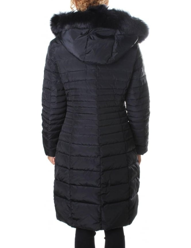 Armani Jeans Fur Trim Hood Women S Quilted Jacket Blue