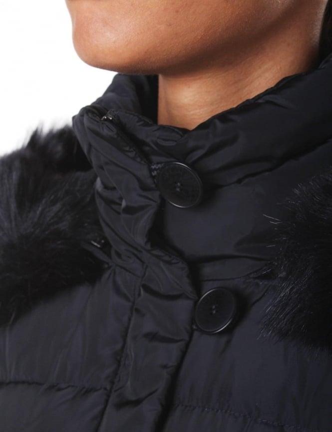 5b608db0ff34 Armani Jeans Fur Trim Hood Women s Quilted Jacket Blue