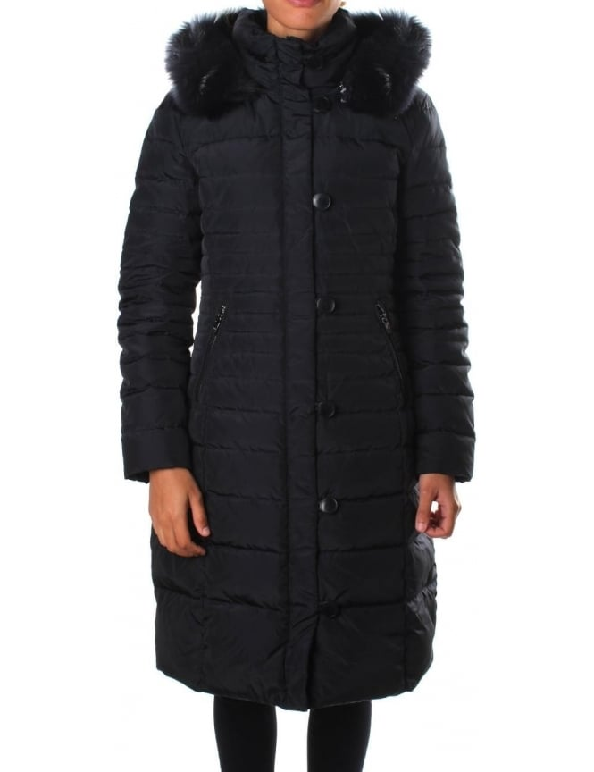Armani Jeans Fur Trim Hood Women's Quilted Jacket
