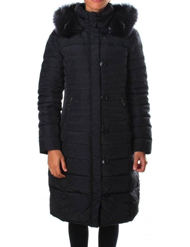 Armani Jeans Fur Trim Hood Women S Quilted Jacket Blue