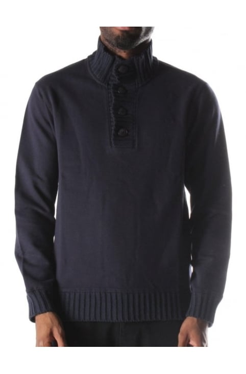 Half Button Men's Sweat Top Blue
