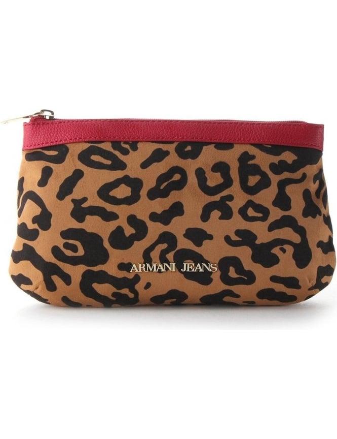 0c03198576ef Armani Jeans Leopard Print Women s Toiletry Purse Red