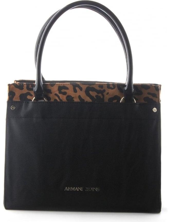 Armani Jeans Leopard Print Women s Z5205 Trim Shopper Bag Black f17caccd4a686