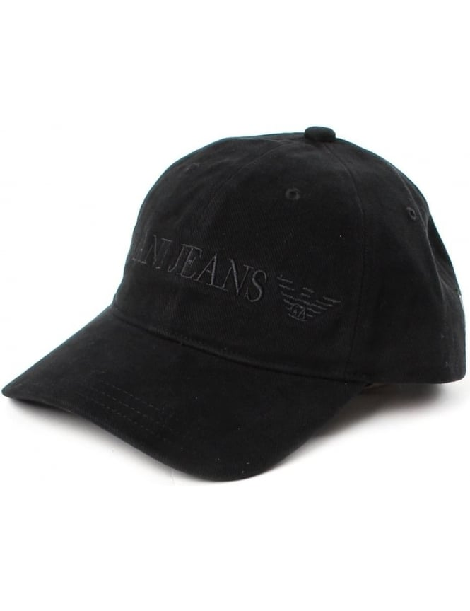 Armani Jeans Logo Embroidered Men's Baseball Cap Black
