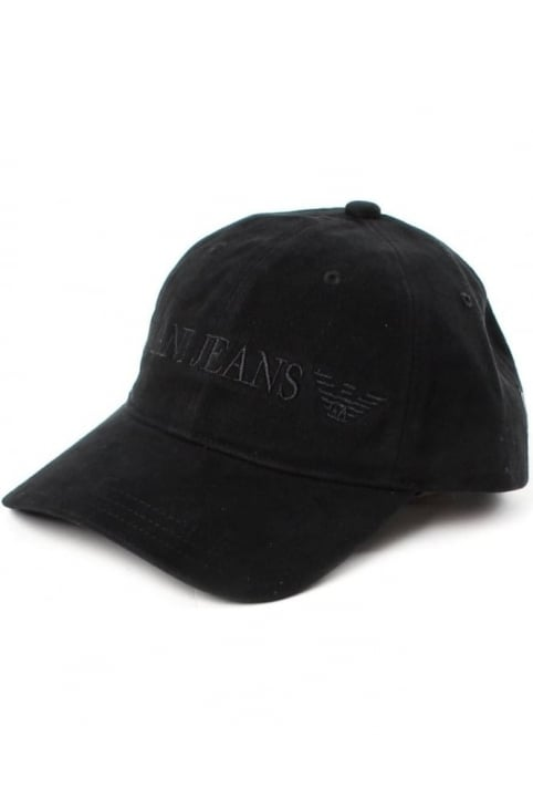 Logo Embroidered Men's Baseball Cap Black