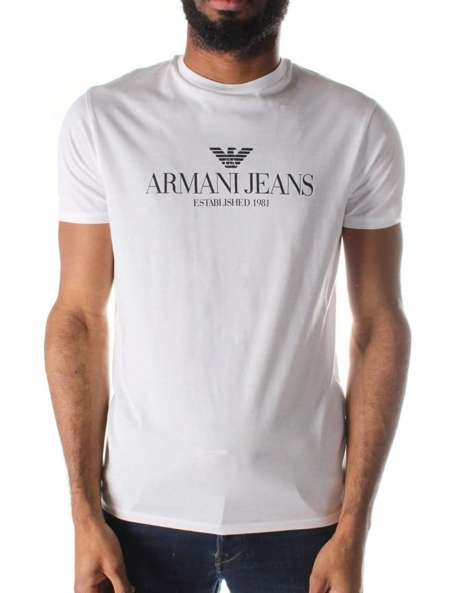 Armani Jeans Logo Print Men's Crew Neck Short Sleeve T-Shirt