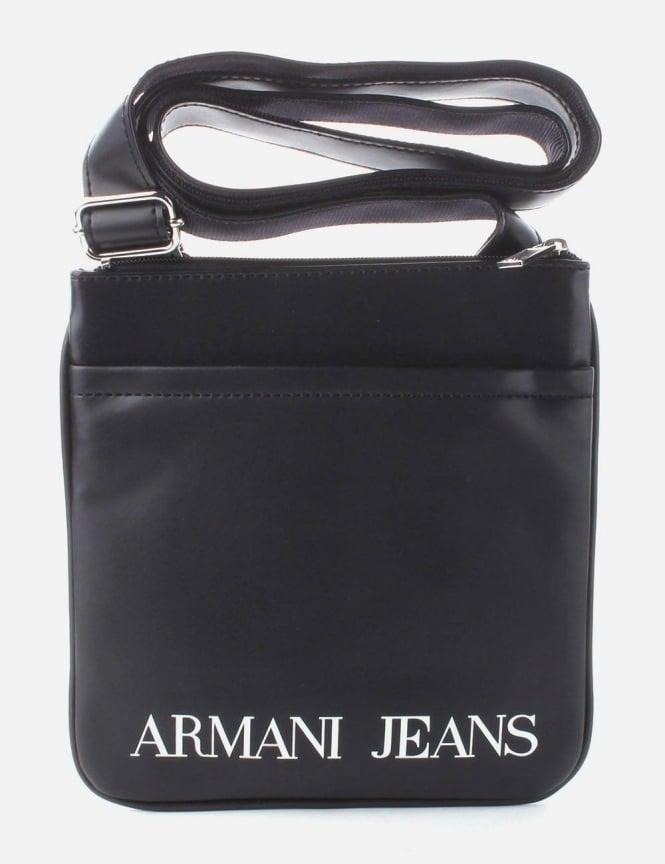 Armani Jeans Logo Print Men S Satchel Bag Black