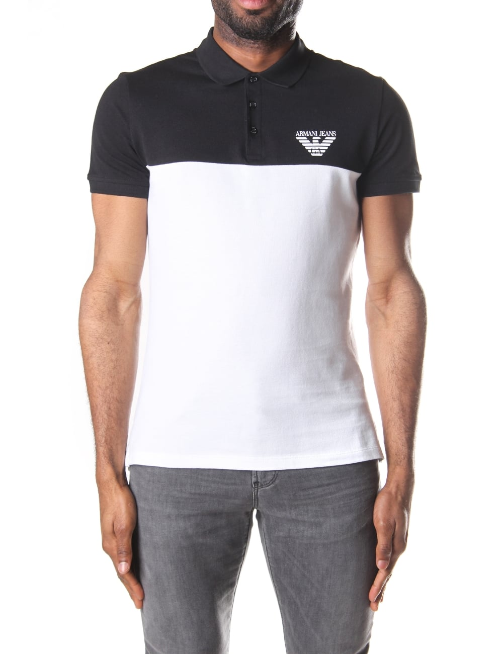 Armani Jeans Men S Big Logo Short Sleeve Polo Top