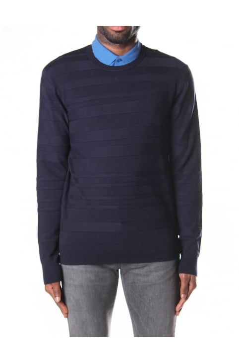 Men's Crew Neck Pullover Stripe Knit