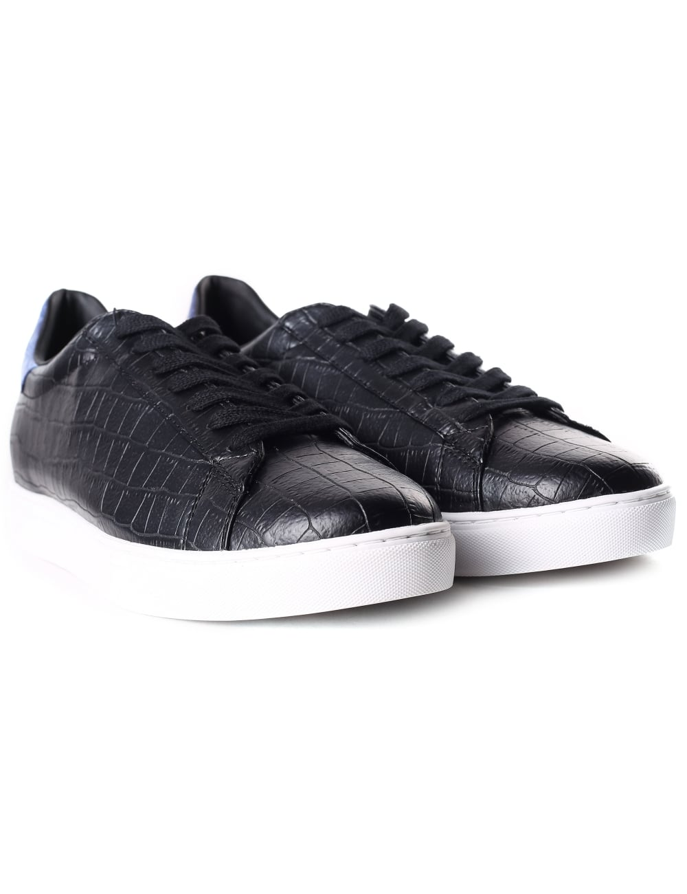 729456f19ff Armani Jeans Men s Croc Embossed Lace Up Trainer