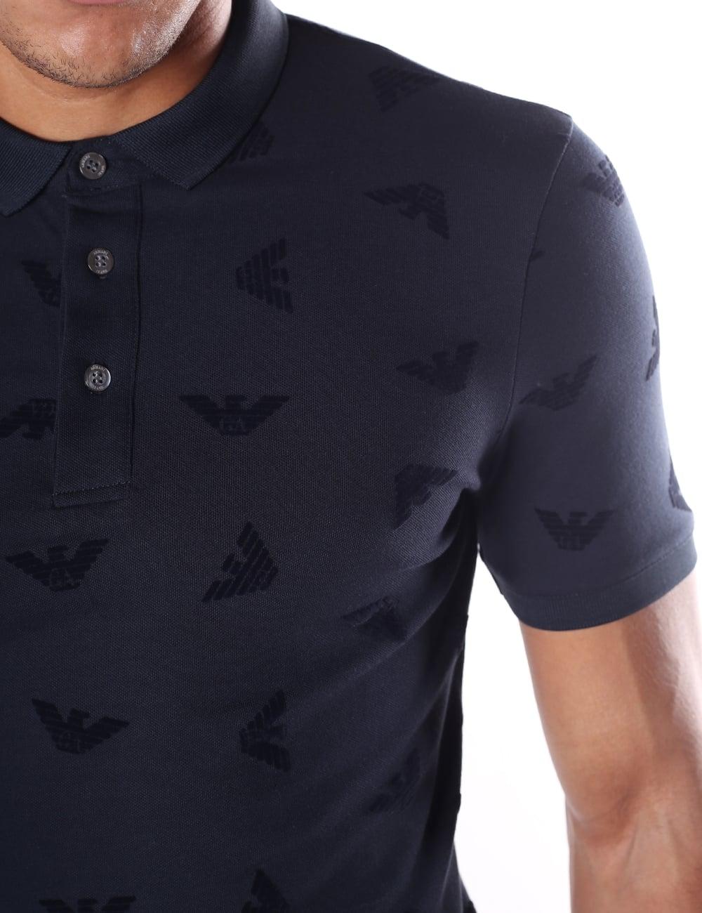 Armani Jeans Men s Repeat Eagle Logo Polo Top 72cd0a892a49