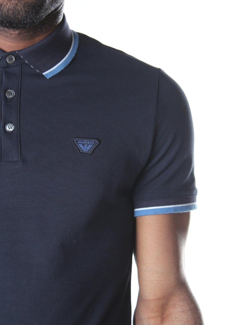 89919cba ... Armani Jeans Men's Tipped Short Sleeve Polo Top. Tap image to zoom.  Men's Tipped Short Sleeve ...