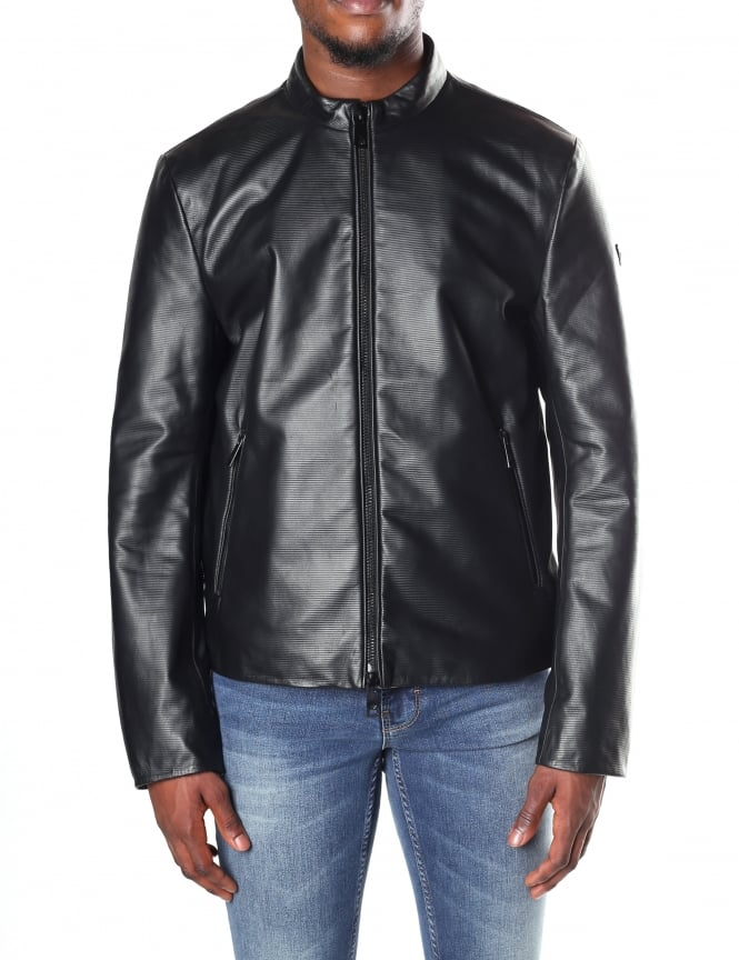 Armani Jeans Men's Zip Through Leather Bomber Jacket