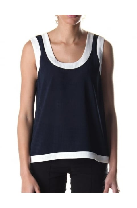 Mesh Look Women's Sleeveless Top Blue
