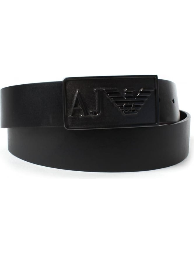 Armani Jeans Metal Buckle Men's Leather Belt Black