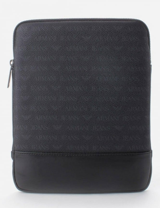 Armani Jeans Multi Logo Men's iPad Case Black