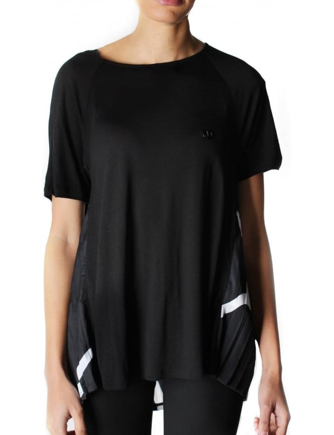Armani Jeans Pleated Back Short Sleeve Top Black