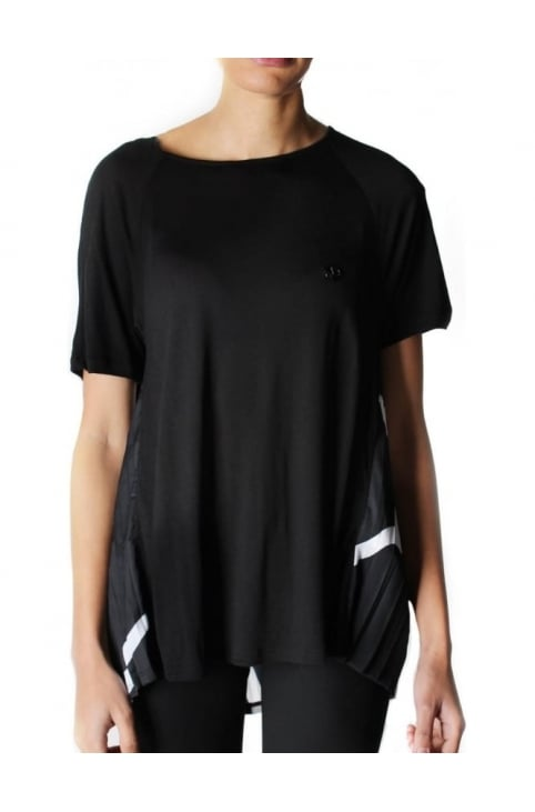 Pleated Back Short Sleeve Top Black