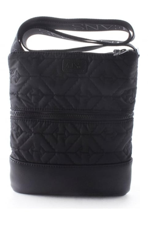 Quilted Men's Messenger Bag Black