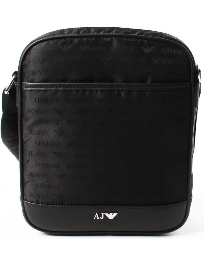 Armani Jeans Repeat Logo Men's Crossbody Bag Black