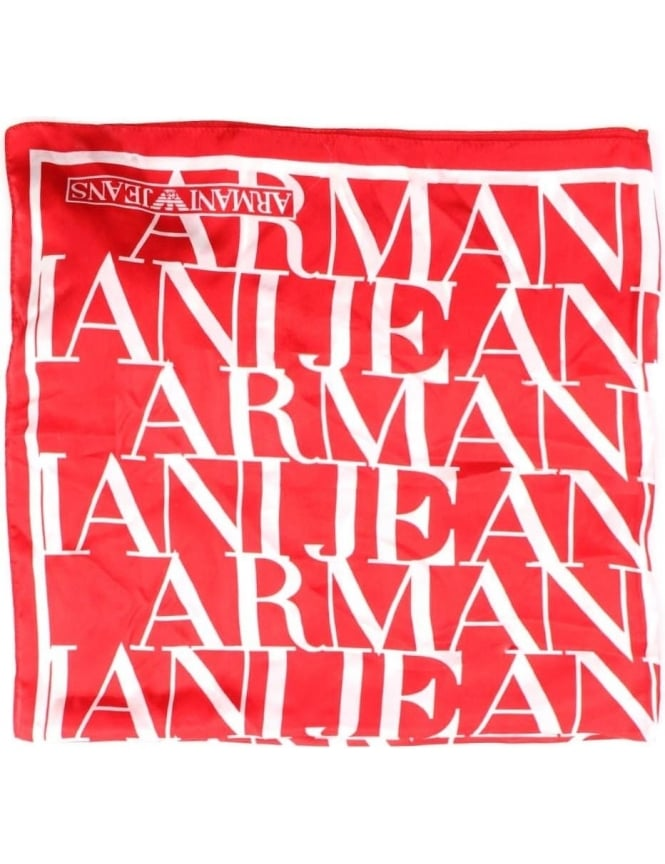 Armani Jeans Repeat Logo Women's Print Scarf Red
