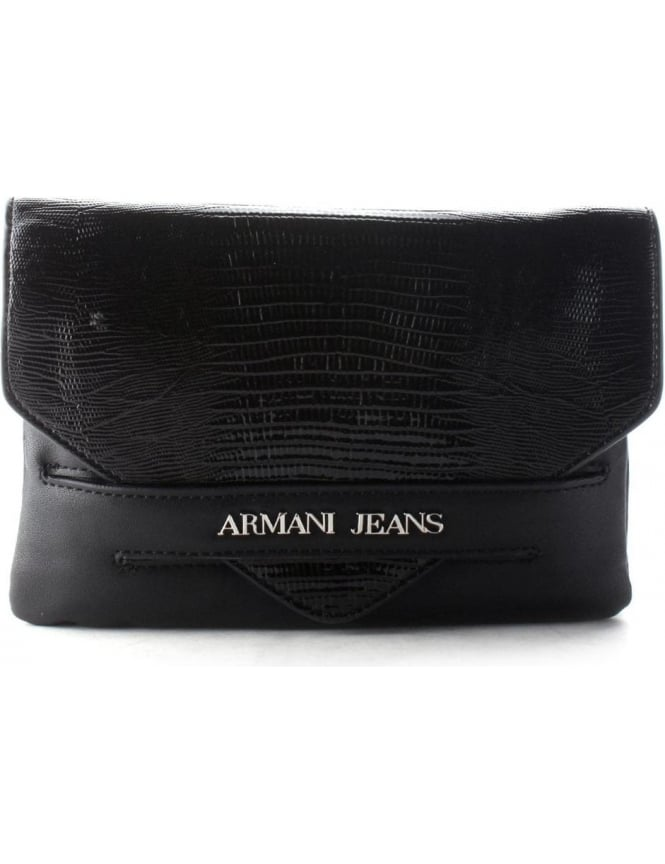 factory price size 40 reliable quality Armani Jeans Reptile Look Women's Fold Over Clutch Bag Black