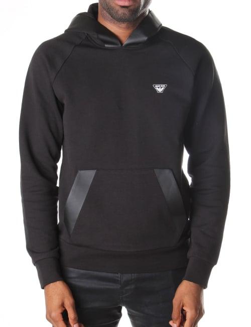 Armani Jeans Rubber Trim Men s Pullover Hooded Sweat Top Black 10c2c578da6b