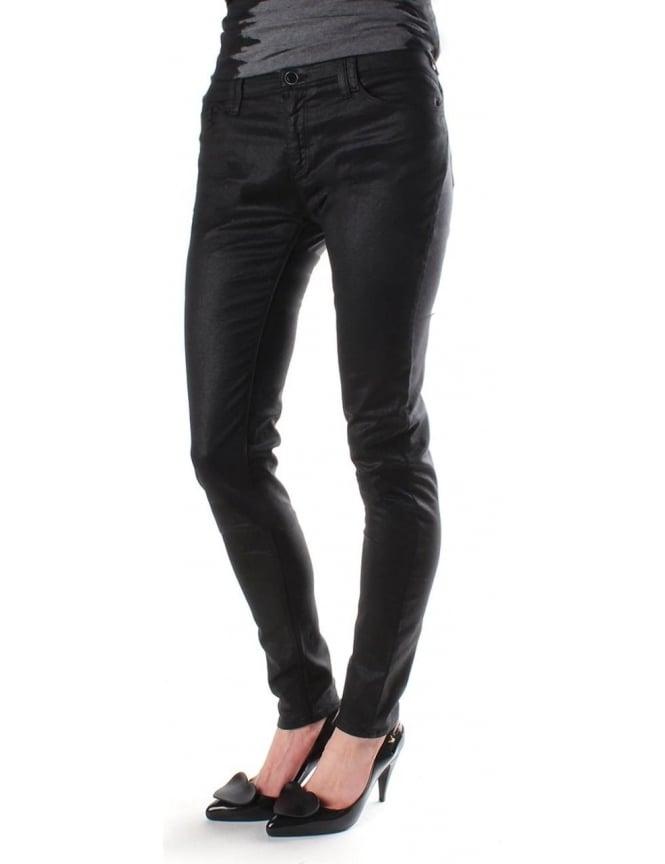 fa47286e50 Armani Jeans Skinny Fit Women's wet look Jean Black