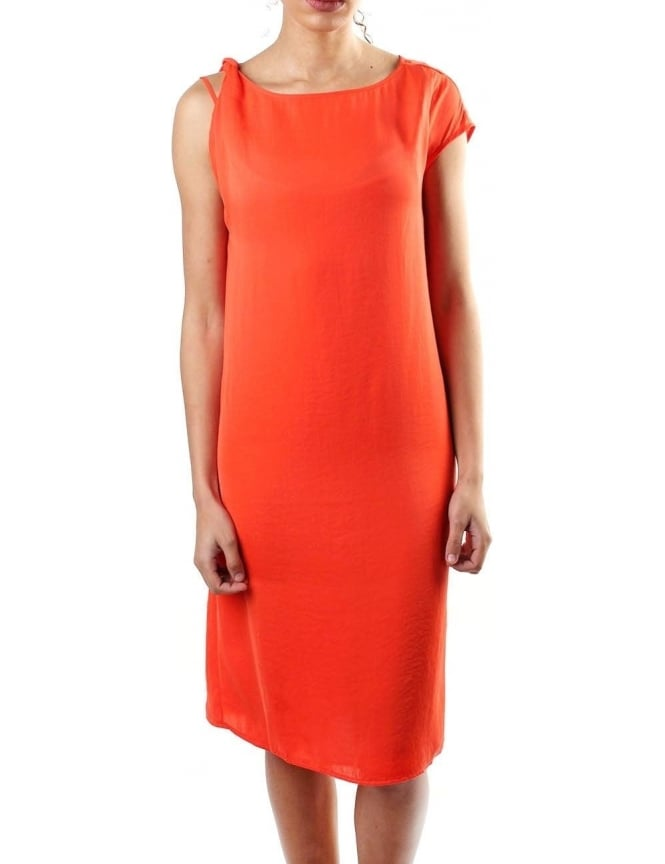 Armani Jeans Sleeveless Women's Drape Dress Orange