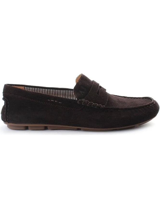068b18dc4aa Armani Jeans Suede Men s Driving Loafer Brown