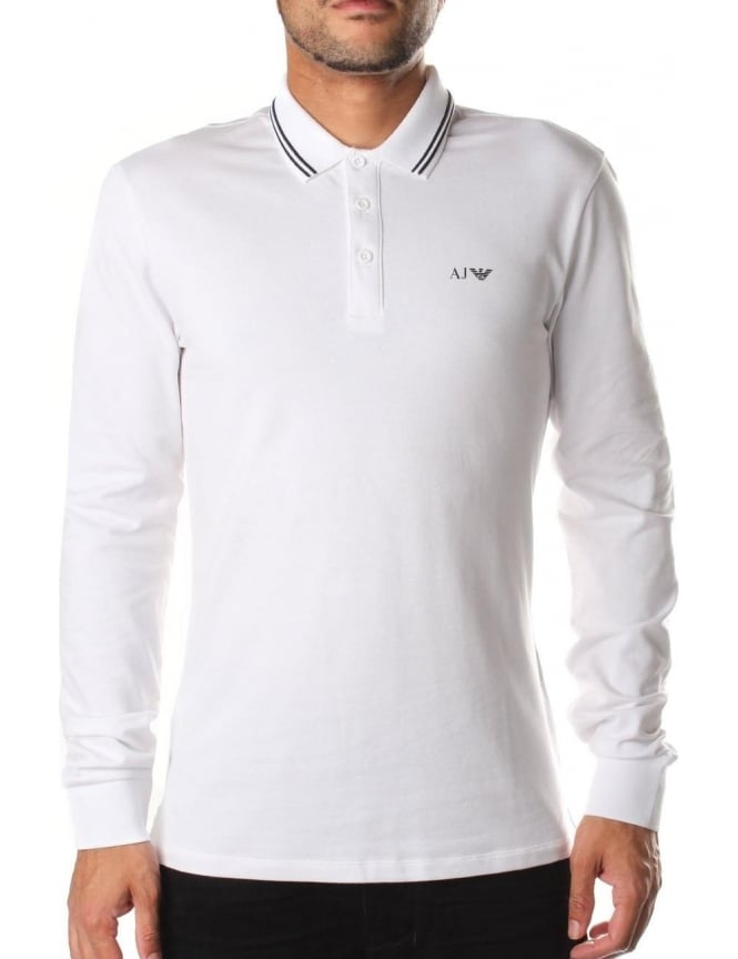 Armani Jeans Tipped Collar Men's Long Sleeve Polo