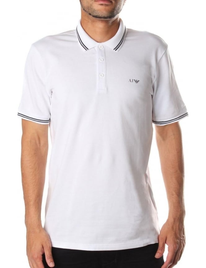 Armani Jeans Tipped Collar Men's Short Sleeve Polo Top