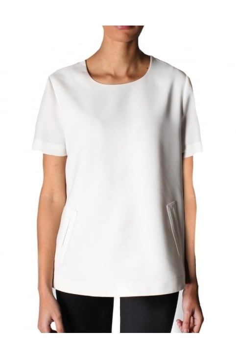 Two Pocket Women's Short Sleeve Top White
