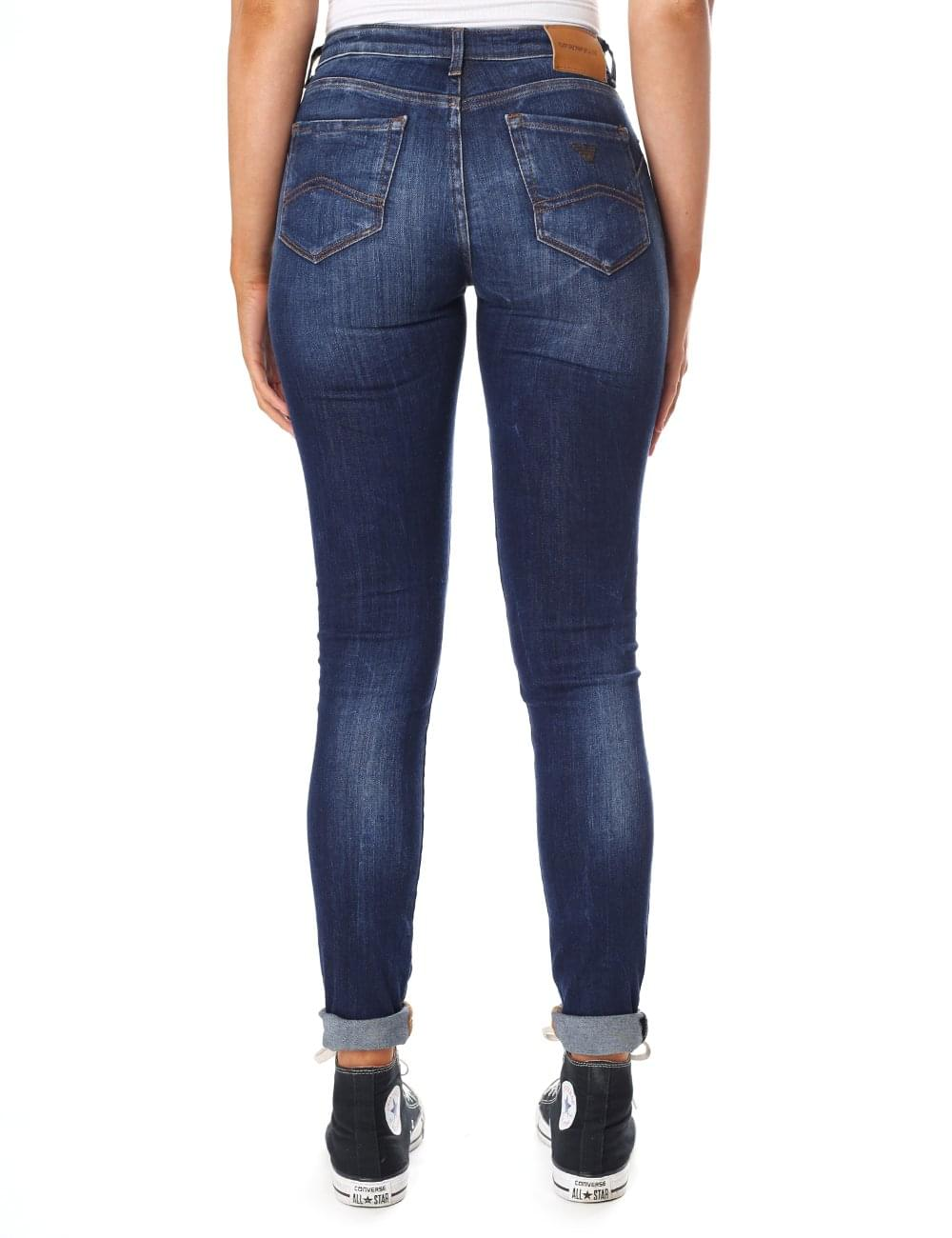 7f4fc601a44 Armani Jeans Women s Mid Wash Push Up Skinny Jean