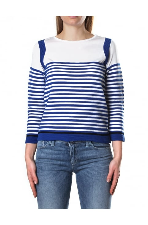 Women's Striped Crew Neck Pullover Knit