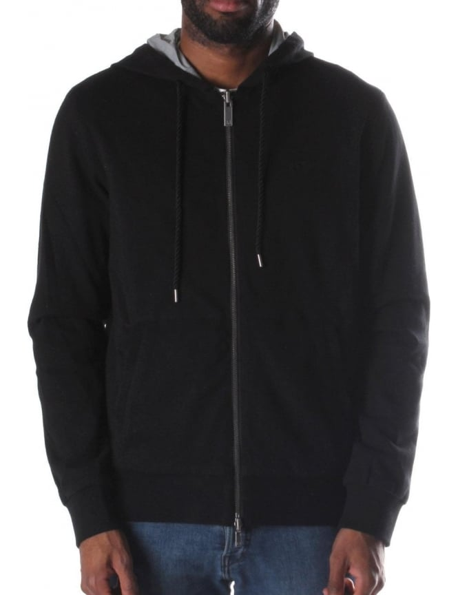Armani Jeans Zip Through Men's Hooded Sweat Top Black