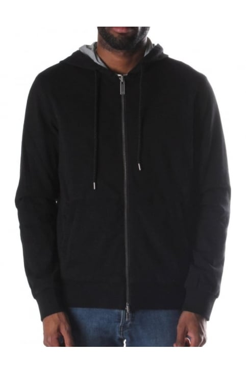 Zip Through Men's Hooded Sweat Top Black