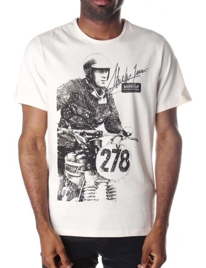 Barbour Breakout Steve McQueen Printed Tee Natural