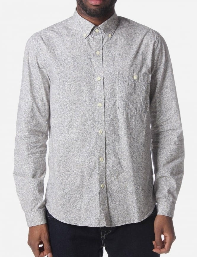 Barbour Floral Print Men's Long Sleeved Shirt Cream