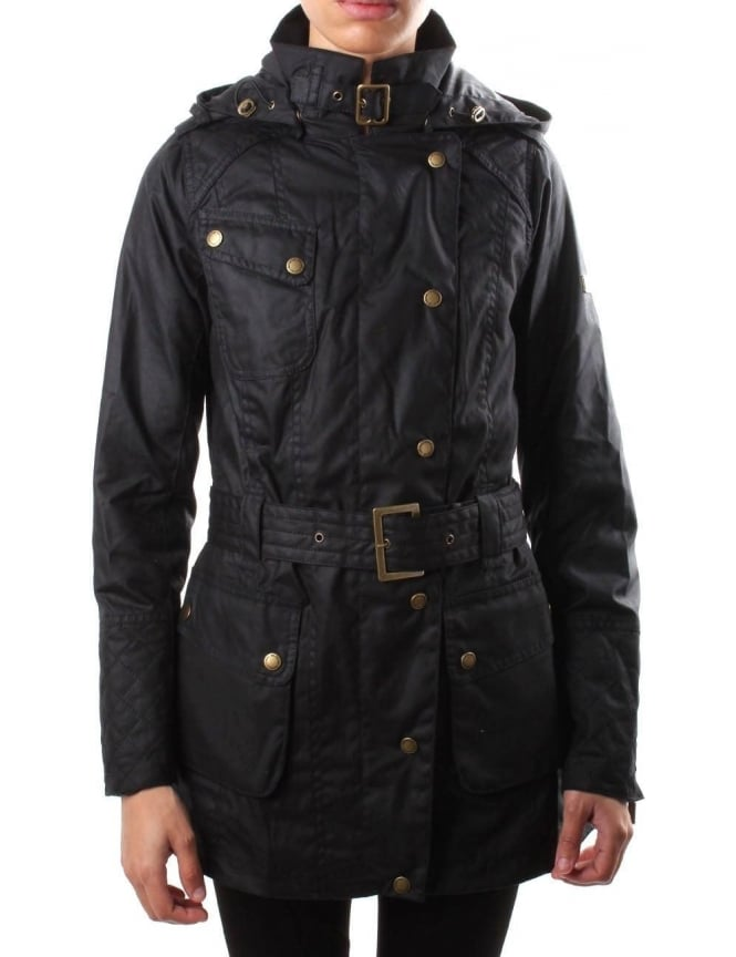 Barbour Hairpin Women's Hooded Wax Jacket Black
