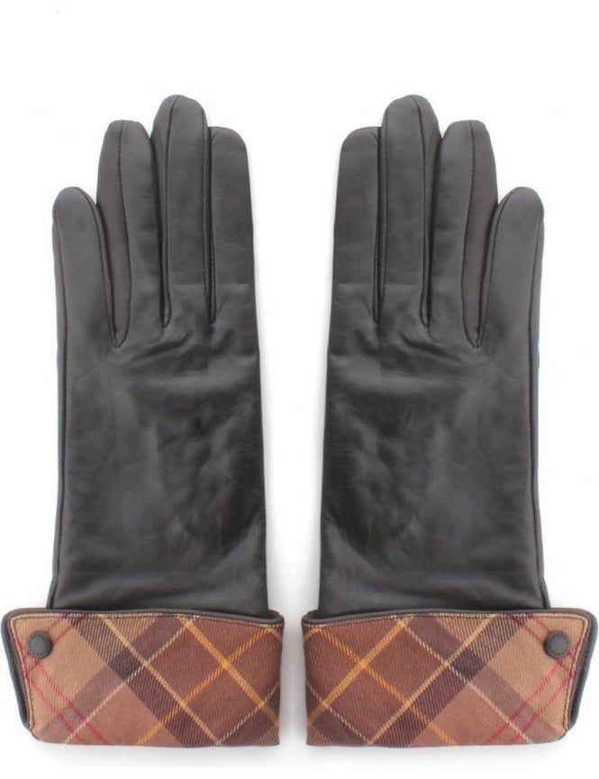 Barbour Lady Jane Women's Leather Gloves Chocolate