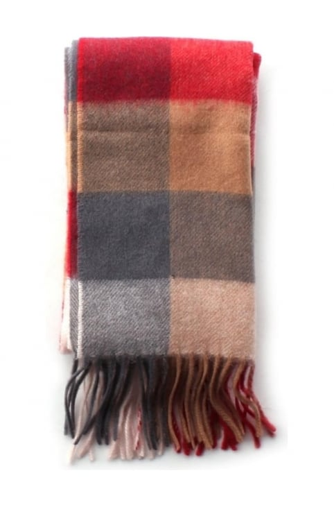Large Tattersall Men's Wool Scarf Red