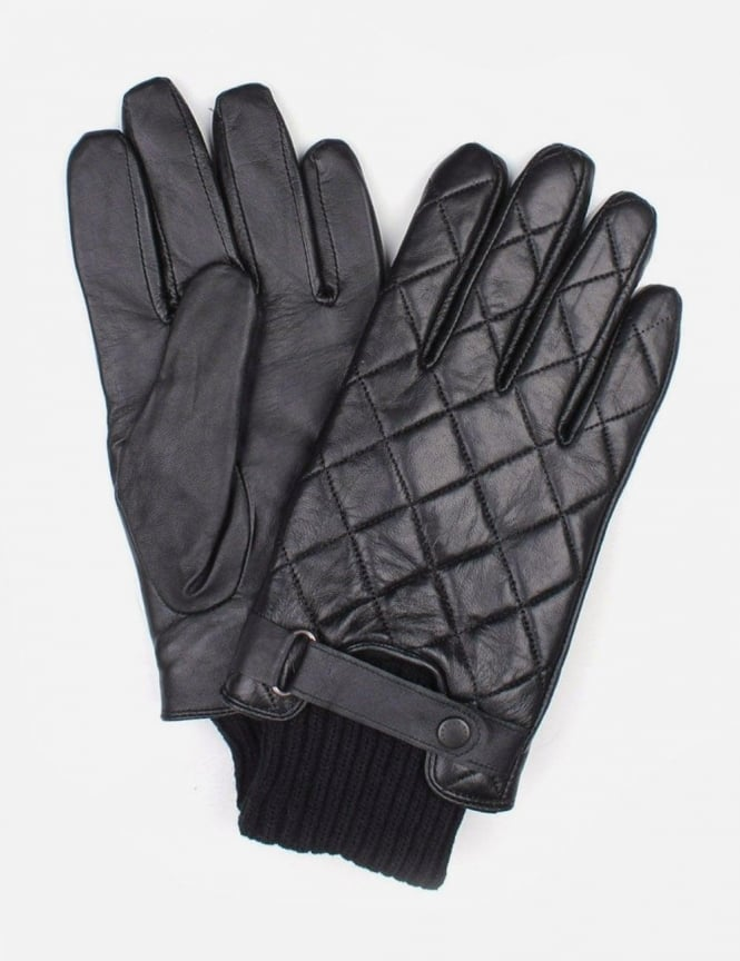 Barbour Quilted Men's Leather Gloves Black