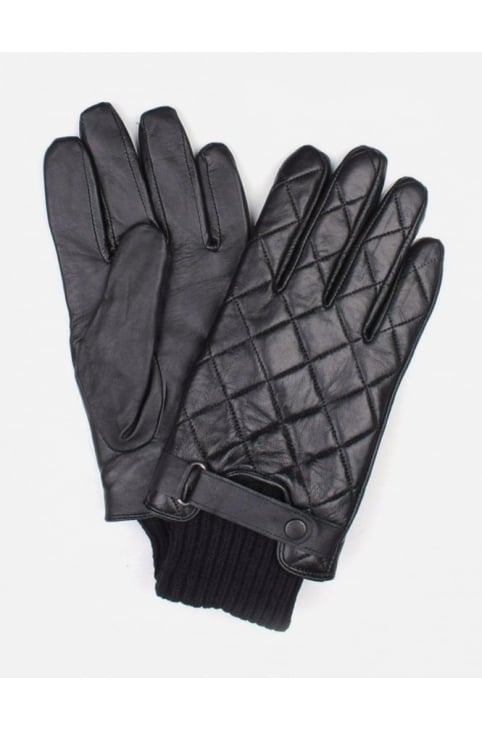 Quilted Men's Leather Gloves Black