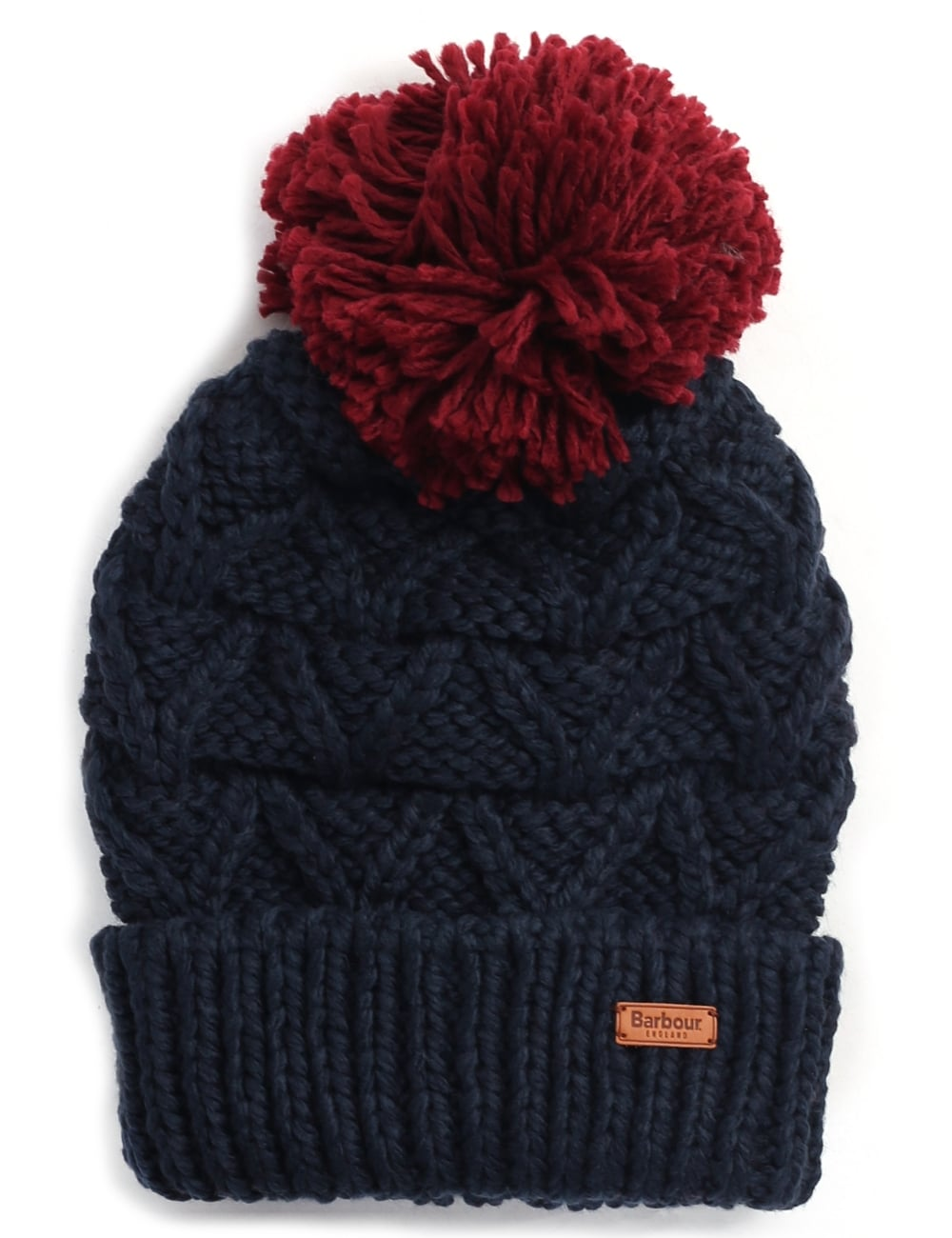 Barbour Women s Craigside Bobble Hat Navy Red 86792dc5cb2