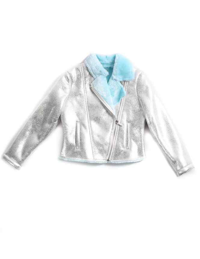 Billieblush Girls Metallic Shearling Jacket