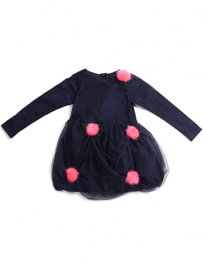 Billieblush Girls Tulle Pom Pom Dress