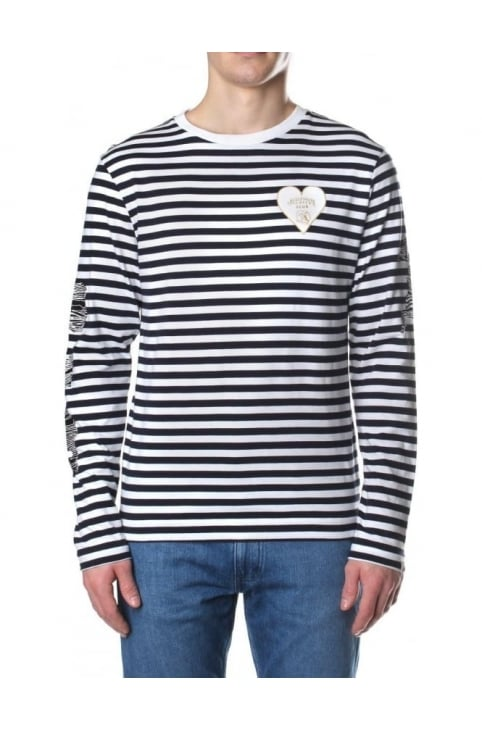 Damage Stripe Men's Long Sleeve Tee White/Navy