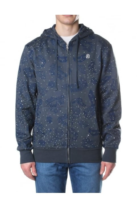Galaxy All Over Print Men's Zip Through Hoodie Blue